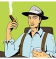 Man with whiskey and cigar pop art vector image