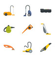 modern vacuum cleaner icon set flat style vector image