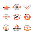 no smoking isolated icons tobacco product harm vector image vector image