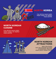 north korean cuisine and attractions promotional vector image