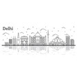 outline delhi india city skyline with historic vector image vector image