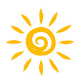painted yellow sun hot bright sunlight sign vector image