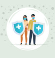 protection against viruses and bacteria man and vector image