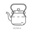 retro travel copper teapot kettle line vector image