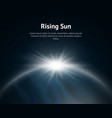 rising sun over earth background card vector image
