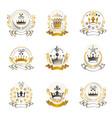 royal crowns emblems set heraldic design vector image vector image