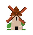 rustic windmill medieval architecture building vector image