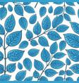 seamless pattern of birch honeysuckle blue leaves vector image