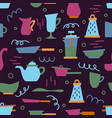 seamless pattern with kitchen appliances vector image