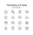 set line icons of translation vector image