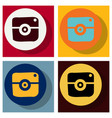 set of flat web icon of modern lineart camera vector image vector image