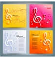 Set of musical banners with musical key and notes vector image