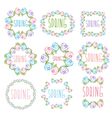 set spring labels with flowers and leaves vector image vector image
