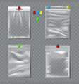 set transparent plastic packaging with pins vector image
