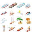 Ships and beach vacation icons set vector image vector image