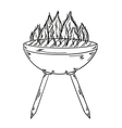 sketch of the grill with big flames vector image vector image