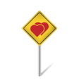 two hearts warning sign vector image vector image
