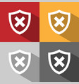 unprotected shield icon with shade on colored vector image vector image