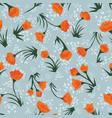vintage orange floral pattern vector image