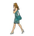 woman in dress talking on phone vector image vector image