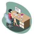 Woman working at a computer isometric