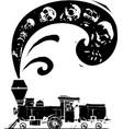 woodcut style skulls locomotive vector image vector image
