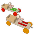 wooden cars on white background vector image vector image