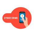 yber crime with locked phone in hand vector image
