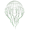 green hands and globe vector image