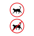 allowed and prohibited cats signs isolated on back vector image vector image