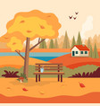 autumn landscape rural scene with cute bench vector image