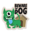 beware dog sticker vector image vector image