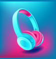 blue and pink headphones isolated on bluee vector image vector image