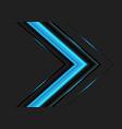 blue light arrow direction on dark grey vector image vector image