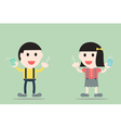 boy and girl are cleaning teeth by dental floss vector image