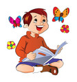 boy reading a book vector image vector image