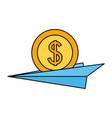 business paper plane with dollar coin vector image vector image