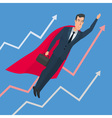 Businessman in a suit superhero flies up above vector image