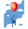 businessman in suit flying a balloon vector image vector image