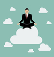 Businessman meditating on a cloud vector image