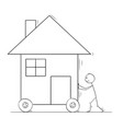 cartoon man pushing or moving family house on vector image vector image