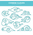 chinese swirly clouds thin blue outlines vector image