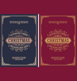 christmas card retro typography and ornament vector image vector image
