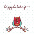 christmas decoration nature cute owl cartoon card vector image