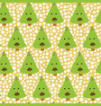 christmas tree with mustache fun christmas pattern vector image vector image