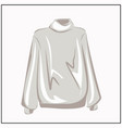classic white turtleneck sweater oversize vector image vector image