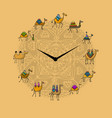 clock with camels design vector image vector image