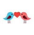 cute couple birds heart in beak valentines day vector image vector image