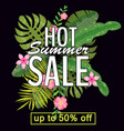 design of a banner with a logo of hot summer sale vector image vector image