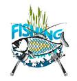 fish and fishing rod symbol vector image vector image